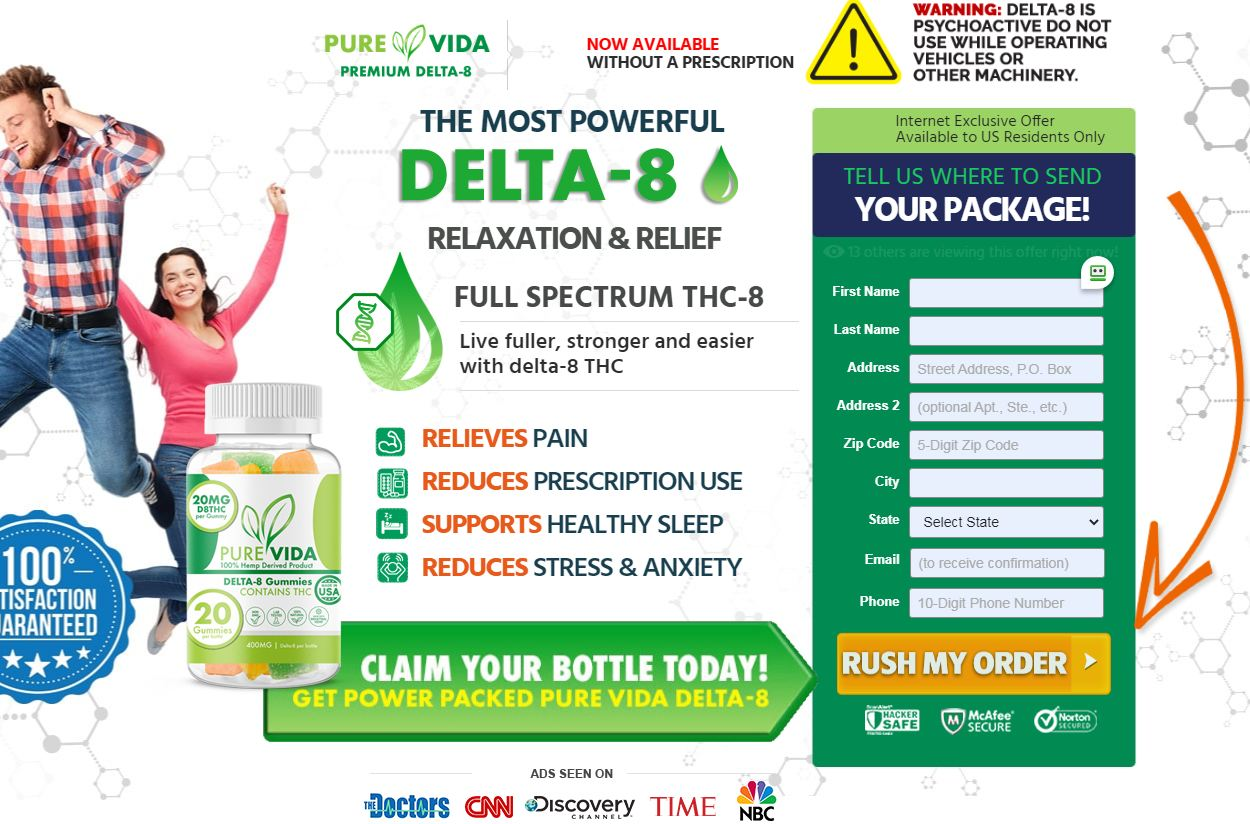 Pure Vida Delta 8 Gummies [Review] Increase Overall Health & Pain Relief!