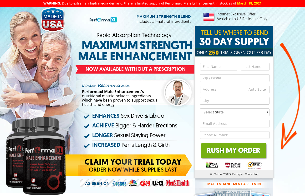 Performa XL Male Enhancement (Review) Get size Erections With XL Pills!