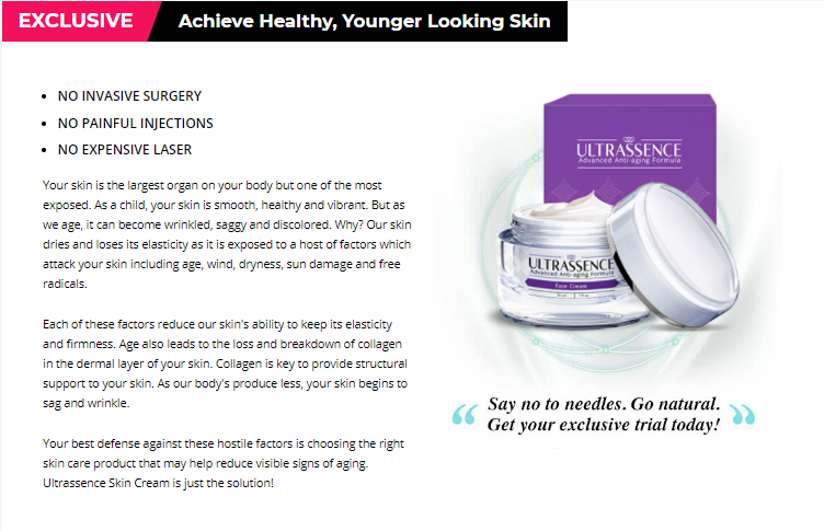 Ultrassence Cream Review [100%_Natural] >More Youthful Skin Today!